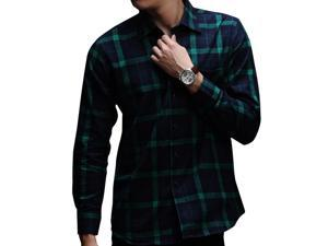 E-bing New Mens Shirts Casual Slim Fit Stylish Mens Dress Shirts Men Fashion Shirts Men's Long Sleeve Lattice Shirt Green Blue White M