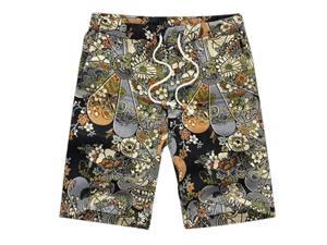 Classic Flower Print Design Men's Shorts Linen Breathable Fast Dry Men Casual Beach Shorts Mens Boardshorts-Q-2XL