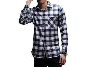E-bing New Mens Shirts Casual Slim Fit Stylish Mens Dress Shirts Men Fashion Shirts Men's Long Sleeve Lattice Shirt Blue White 4XL
