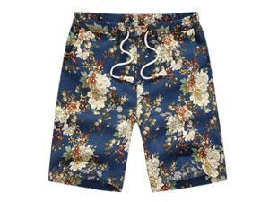 Classic Flower Print Design Men's Shorts Linen Breathable Fast Dry Men Casual Beach Shorts Mens Boardshorts-H-6XL