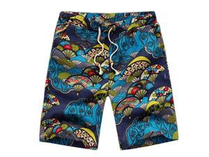 Classic Flower Print Design Men's Shorts Linen Breathable Fast Dry Men Casual Beach Shorts Mens Boardshorts-A-L