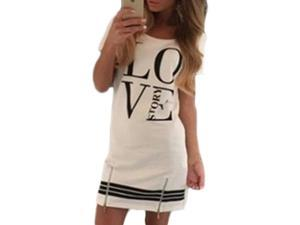 Printed Women Dress Short Sleeve Fashion Dress Casual O-Neck Dress LOVE Story white  S
