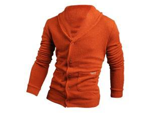 Sweater Lapel Mens Cardigan Sweater Fashion Knitted Sweater Coat of Cultivate One's Morality orange 2XL