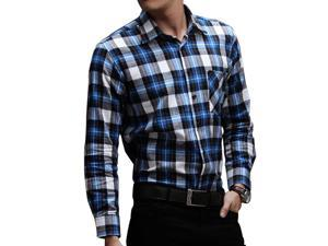 E-bing New Mens Shirts Casual Slim Fit Stylish Mens Dress Shirts Men Fashion Shirts Men's Long Sleeve Lattice Shirt Blue White Gray 2XL