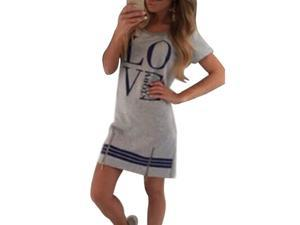 Printed Women Dress Short Sleeve Fashion Dress Casual O-Neck Dress LOVE Story gray L