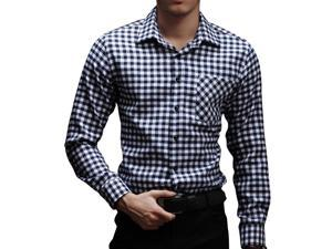 E-bing New Mens Shirts Casual Slim Fit Stylish Mens Dress Shirts Men Fashion Shirts Men's Long Sleeve Small Lattice Shirt Black White 4XL