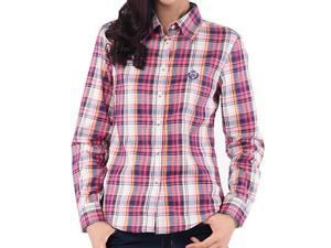 Debao long sleeve collar plaid women shirt small and fresh sports leisure women pure cotton shirt's 3048 XL