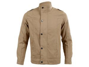 Fashion Mens Stand Collar Cotton Outwear Coats Casual Jackets Khaki 3XL