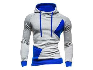 Fashion New Contract Color Hoodies Sweatshirts Men Casual Slim Outerwear Coat Light Gray and Blue XL