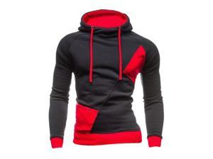 Fashion New Contract Color Hoodies Sweatshirts Men Casual Slim Outerwear Coat Dark Gray and Red XL