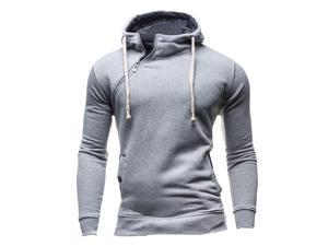 Sweatshirt Men Hoodies Fashion Solid Fleece Hoodie Mens Sports Suit Pullover Men's Tracksuits light gray M