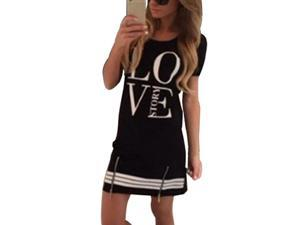 Printed Women Dress Short Sleeve Fashion Dress Casual O-Neck Dress LOVE Story black   S
