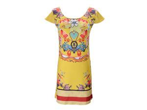 Summer Women Sexy Short Sleeve Fitted Dress Yellow Bottom with Floral Print Mini Dress Casual Dresses M