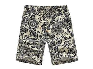 Classic Flower Print Design Men's Shorts Linen Breathable Fast Dry Men Casual Beach Shorts Mens Boardshorts-E-XL