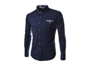 New Fashion Hit Color Pocket Long Sleeve Cotton Slim Fit French Cuff Casual Male Shirt Clothes Navy Blue 2XL