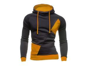Fashion New Contract Color Hoodies Sweatshirts Men Casual Slim Outerwear Coat Dark Gray and Yellow L