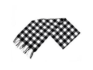 Classical Black & White Checked Stripe Print Tassel Decorated Scarf For Men