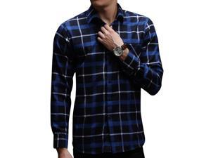 E-bing New Mens Shirts Casual Slim Fit Stylish Mens Dress Shirts Men Fashion Shirts Men's Long Sleeve Small Lattice Shirt Blue Black L
