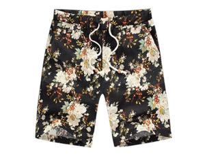 Classic Flower Print Design Men's Shorts Linen Breathable Fast Dry Men Casual Beach Shorts Mens Boardshorts-G-M