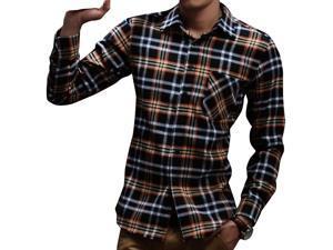 E-bing New Mens Shirts Casual Slim Fit Stylish Mens Dress Shirts Men Fashion Shirts Men's Long Sleeve Lattice Shirt Blue Orange White L