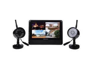 """THZY 7"""" TFT-LCD Surveillance Monitor Wireless 4 Channel Quad DVR 2 Cameras For Home Outdoor Office Room Security System Black"""