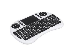 2.4G Mini Keyboard with Touch Pad QWERTY Handheld Wireless Touchpad for portable PC Android TV Box HTPC (White)