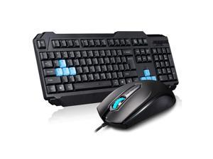 MOTOSPEED USB Cable Keyboard & Optical Game Sport Raton Combination Kit Set for PC Notebook Desktop Black + Blue