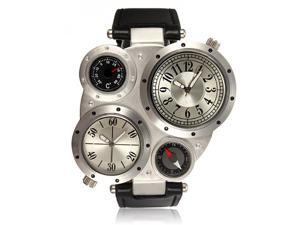 Bracelet Watch Military Sports 2 time zone Big Quartz Men's dial
