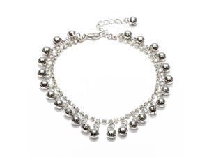 THZY Silver Metal Rhinestone Fringe Bangle Bracelet for Ankle Foot Women's deco