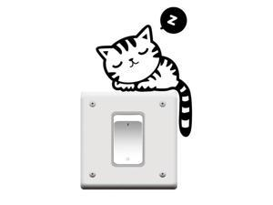 THZY 2Pcs Fancy Wall Stickers Decoration Switch Stickers Socket Cartoon Stickers On Walls Wallpaper Black&White