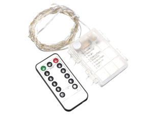 SODIAL 10M 100 LEDs Silver String Fairy Xmas Strip Light AA Battery + Remote Controller(Warm White)