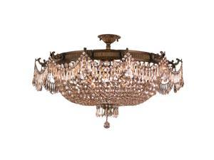 Winchester Collection 12 Light Antique Bronze Finish and Golden Teak Crystal Semi Flush Mount Ceiling Light
