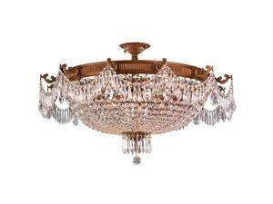 Winchester Collection 12 Light French Gold Finish and Clear Crystal Semi Flush Mount Ceiling Light