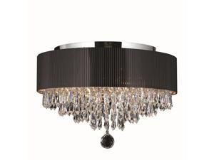 Gatsby Collection 4 light Chrome Finish and Clear Crystal Ceiling Light Flush Mount with Black Acrylic Drum Shade