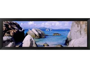 Boulders on a coast, The Baths, Virgin Gorda, British Virgin Islands by Panoramic Images Framed Art, Size 38 X 14