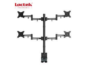 Loctek D2Q Full Motion Quad Monitor Arm Desk Mount Stands Fits Most 10-27 inches Computer Monitor ,Clamping Supports 22 lbs per arm