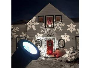 LED Projector Lamp Christmas Tree Decor Snowflake Light White