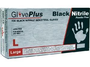 Ammex gloves GPNB46100 BLACK NITRILE GLOVE LARGE(100)