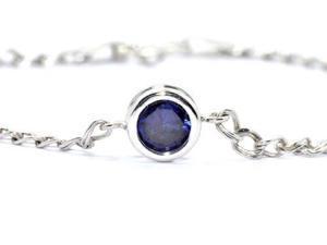 1 Ct Blue Sapphire Round Bezel Bracelet .925 Sterling Silver Rhodium Finish