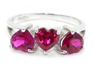 3 Ct Created Ruby Heart Ring .925 Sterling Silver Rhodium Finish [Jewelry]