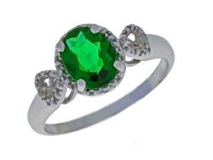 2 Ct Emerald & Diamond Oval Heart Ring .925 Sterling Silver Rhodium Finish