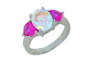 5 Ct Mercury Mist Oval & Pink Sapphire Heart Ring .925 Sterling Silver Rhodiu...