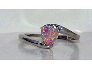 6mm Pink Opal Heart Ring .925 Sterling Silver Rhodium Finish [Jewelry]