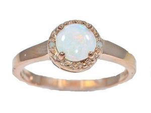 6mm Genuine Opal & Diamond Round Ring .925 Sterling Silver 14Kt Rose Gold Plated