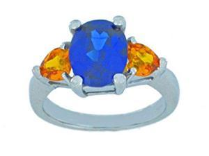 4 Ct Created Blue Sapphire Oval & Citrine Heart Ring .925 Sterling Silver Rho...