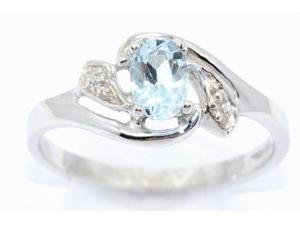 0.50 Ct Genuine Aquamarine & Diamond Oval Ring .925 Sterling Silver Rhodium F...
