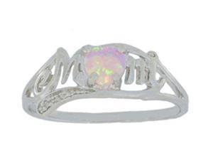 Pink Opal & Diamond Heart Mom Ring .925 Sterling Silver Rhodium Finish [Jewelry]