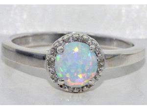 6mm Opal Round Diamond Ring .925 Sterling Silver Rhodium Finish [Jewelry]