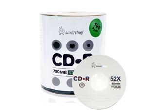 100 Pack Smartbuy 52X CD-R 700MB 80Min Logo Top Blank Media Recordable Disc