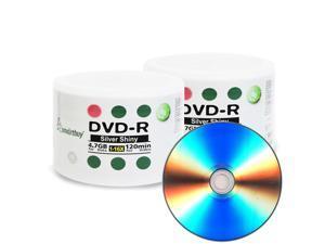100 Pack Smartbuy 16X DVD-R 4.7GB 120Min Shiny Silver Blank Media Recordable Disc